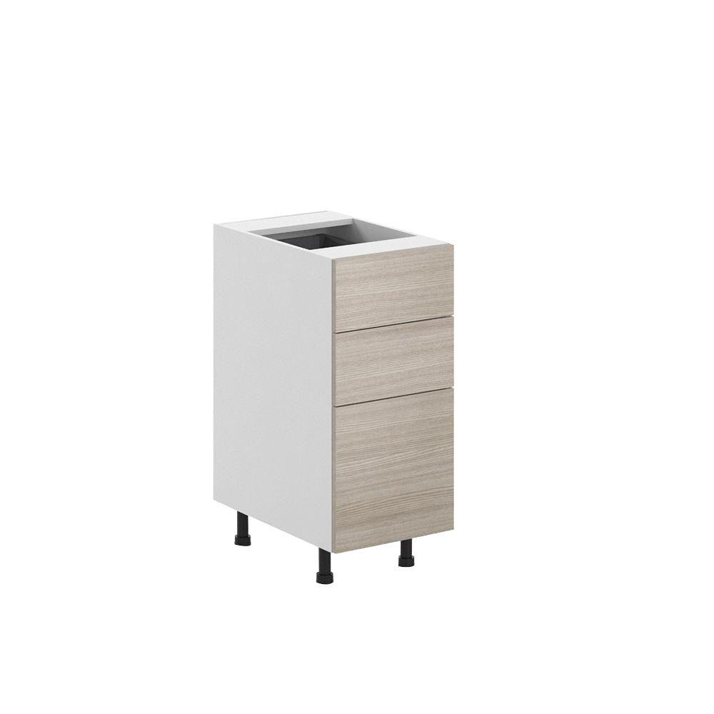 Ready to Assemble 15x34.5x24.5 in. Geneva 3-Drawer Base Cabinet in White
