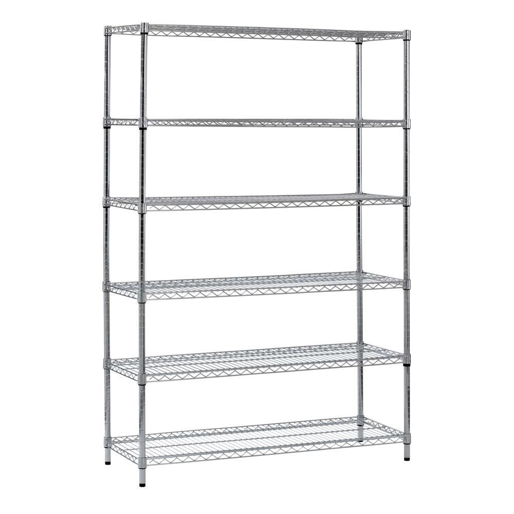 72 in. H x 48 in. W x 18 in. D 6-Shelf Steel Shelving Unit in Zinc