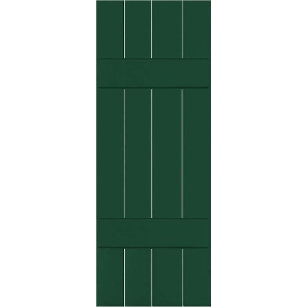Ekena Millwork 15 in. x 72 in. Exterior Real Wood Pine Board & Batten Shutters Pair Chrome Green