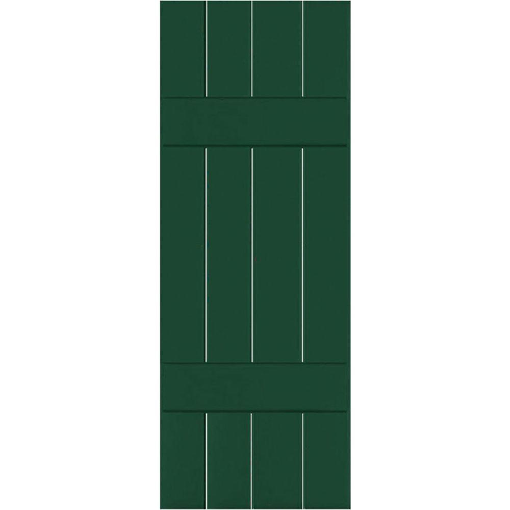 Ekena Millwork 15 in. x 69 in. Exterior Real Wood Pine Board and Batten Shutters Pair Chrome Green