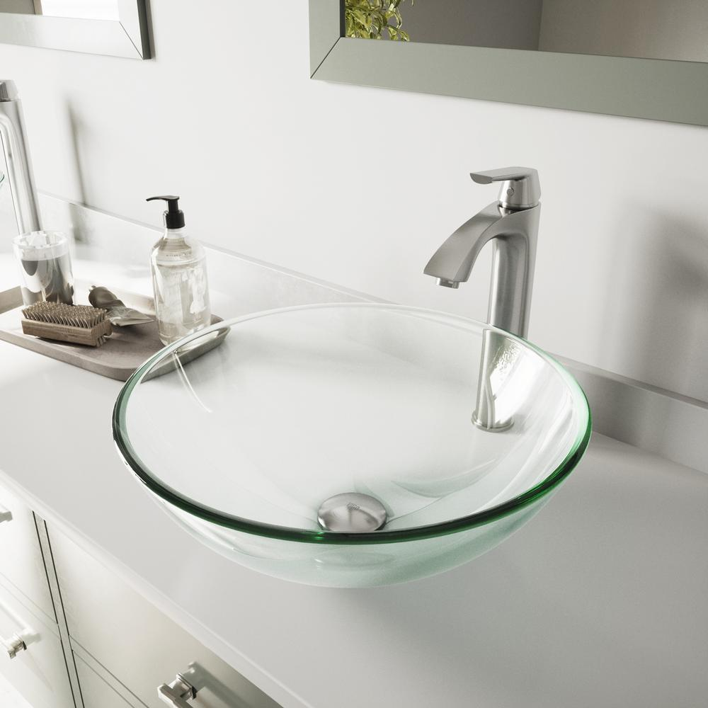 VIGO Glass Vessel Bathroom Sink in Clear Crystalline and Linus Vessel Faucet Set in Brushed Nickel