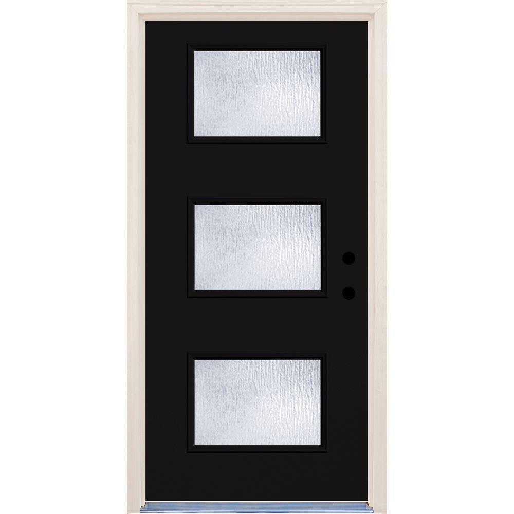 36 in. x 80 in. Left-Hand Inkwell 3 Lite Rain Glass Painted Fiberglass Prehung Front Door with Brickmould
