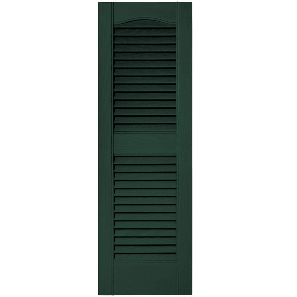 12 in. x 36 in. Louvered Vinyl Exterior Shutters Pair #122
