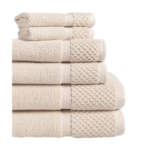 Espalma Diplomat 6-Piece 100% Cotton Bath Towel Set in Creme 869303