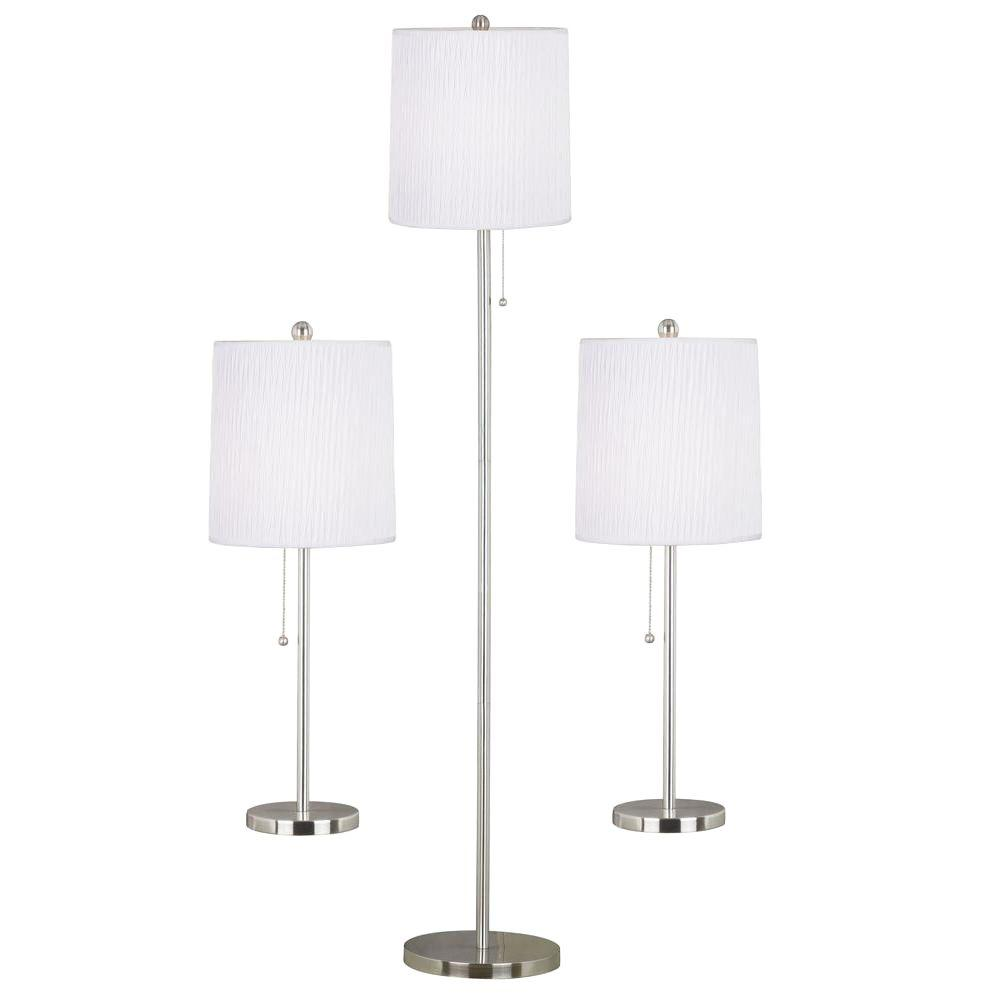 Kenroy Home Selma 25 In. Brushed Steel 2 Table And 1 Floor Lamp Set