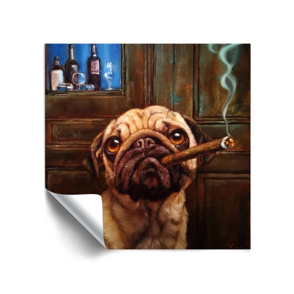'Uptown Pug' Removable Wall Mural