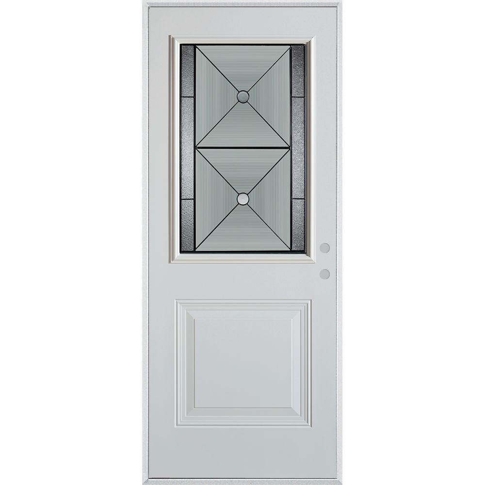 32 in. x 80 in. Bellochio Patina 1/2 Lite 1-Panel Painted White Left-Hand Inswing Steel Prehung Front Door