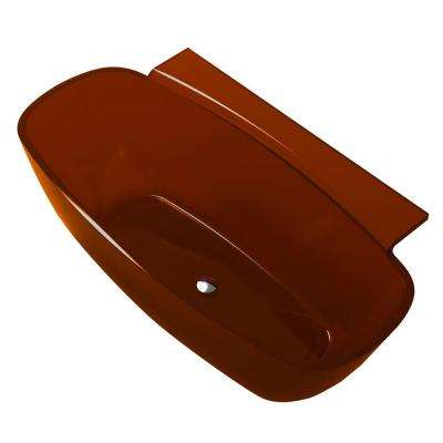 Vida 5.2 ft. Man-Made Stone Center Drain Freestanding Bathtub in Honey Amber