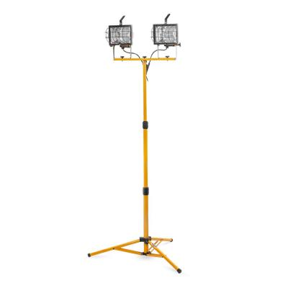 1000-Watt Halogen Telescoping Twin Head Lamp Work Light with Tripod Stand