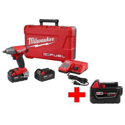 M18 FUEL 18-Volt Cordless Brushless 1/2 in. Compact Impact Wrench and Friction Ring Kit with M18 18-Volt 5.0Ah Battery