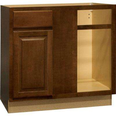 Hampton Assembled 36x34.5x24 in. Blind Base Corner Kitchen Cabinet in Cognac