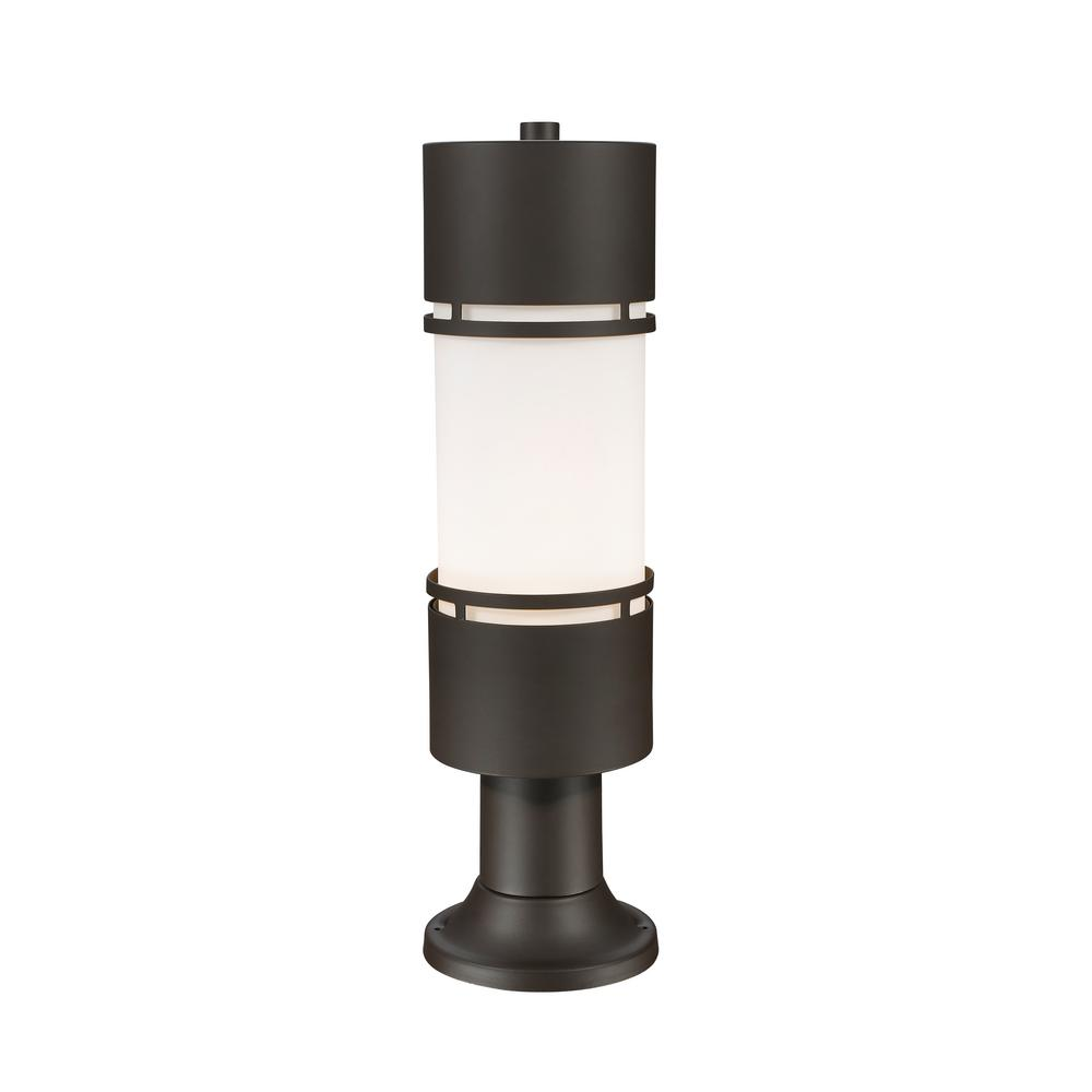 Seija 75-Watt Equivalent Outdoor Deep Bronze Integrated LED Post Light with