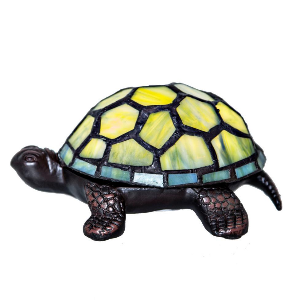 Green Stained Gl Turtle Accent Lamp