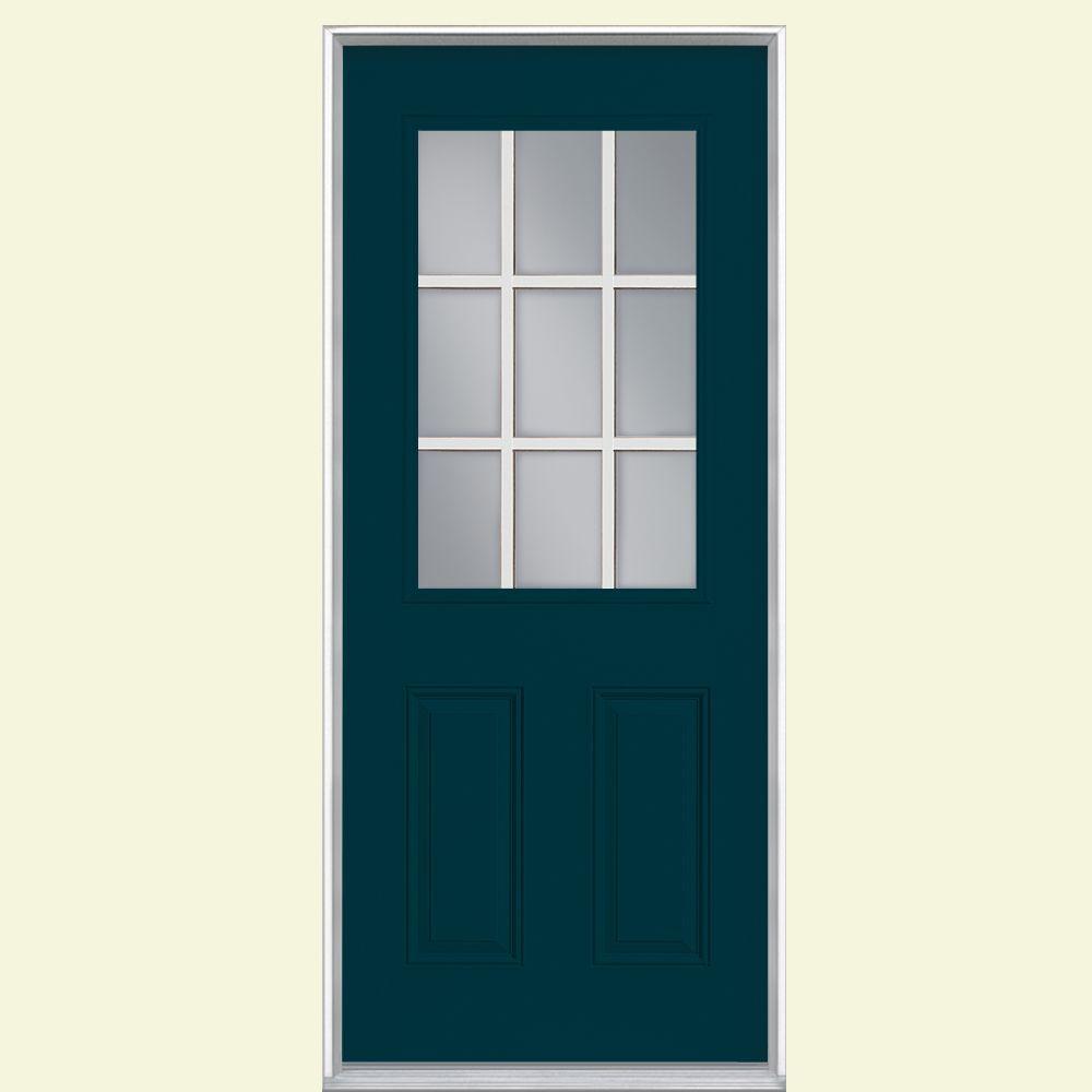 9 Lite Primed Steel Prehung Front Door with No Brickmold & 2 Panel - Blue - Doors With Glass - Steel Doors - The Home Depot
