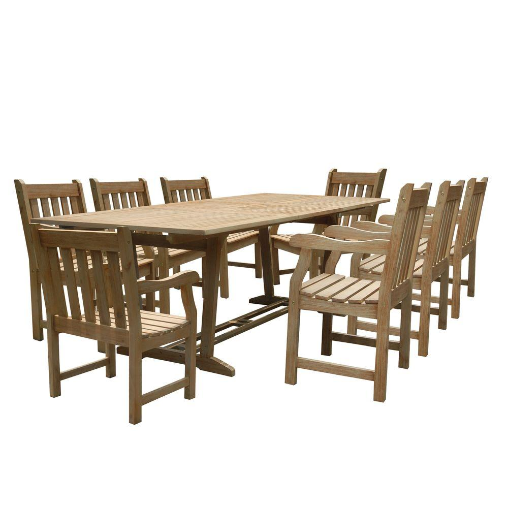 Vifah Renaissance Acacia 9-Piece Patio Dining Set with Rectangular Extension Table and Slat-Back Armchairs-DISCONTINUED