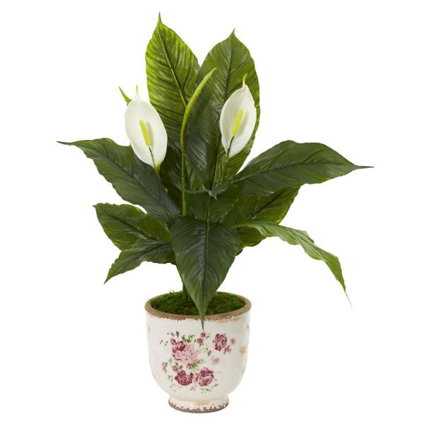 Nearly Natural Indoor 38 in. Spathiphyllum Artificial Plant in Decorative Vase