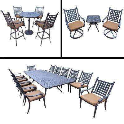 Belmont 21 Piece Aluminum Outdoor Dining Set With Sunbrella Brown Cushions