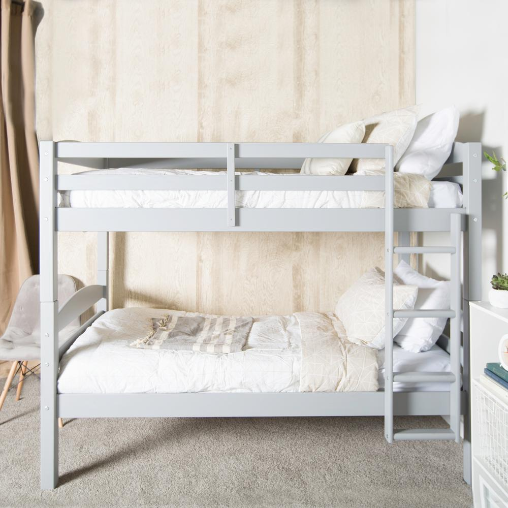 Walker Edison Twin Over Twin Wood Bunk Bed Grey