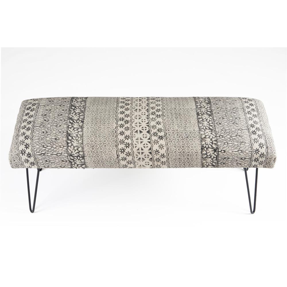 LR Resources Block Print Black / White Upholstered Indoor Bench