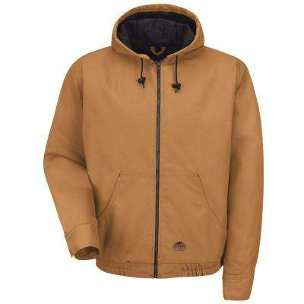 Men's Large Brown Duck Blended Duck Zip-Front Hooded Jacket