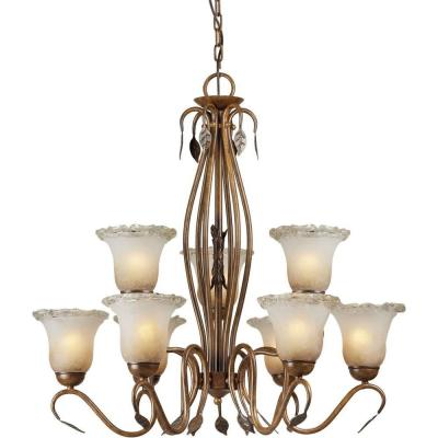 9-Light Rustic Sienna Bronze Chandelier with Umber Ice Glass Shade