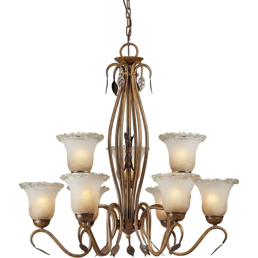Talista 9-Light Rustic Sienna Bronze Chandelier with Umber Ice Glass Shade