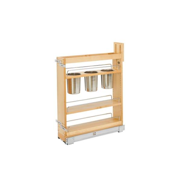 25.5 in. H x 5.5 in. W x 21.625 in. D Pull-Out Wood Base Cabinet 4 Shelves with 3 Bins and Soft-Close Slides