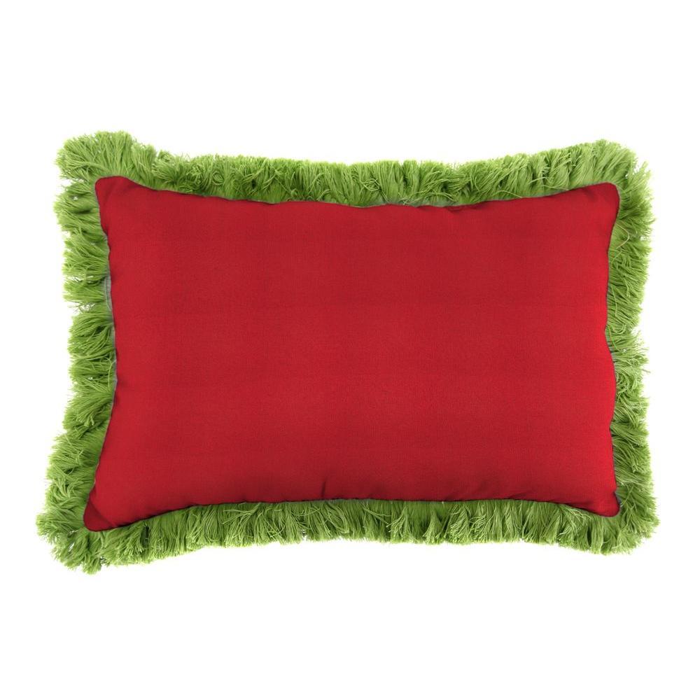 Sunbrella 9 in. x 22 in. Spectrum Crimson Lumbar Outdoor Pillow with Gingko Fringe