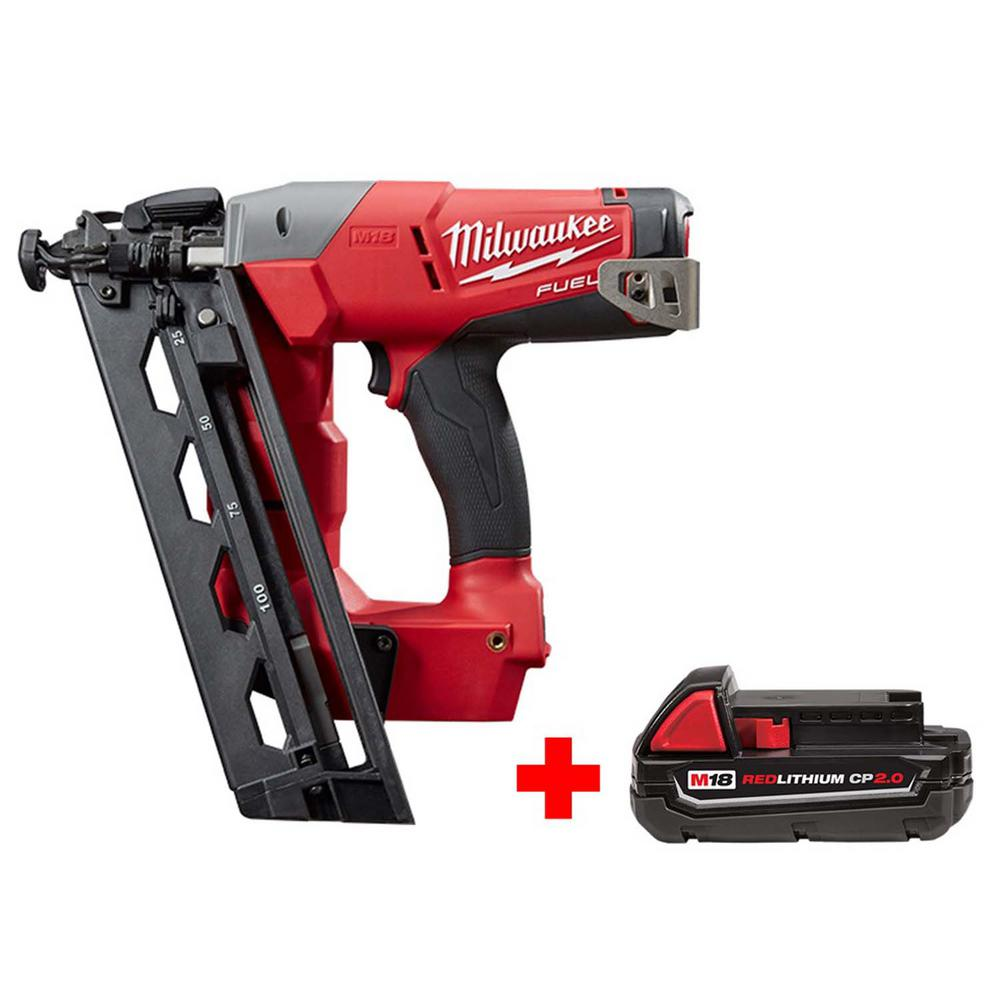 Milwaukee M18 FUEL 18-Volt Lithium-Ion Brushless 16-Gauge Cordless Angled Finish Nailer with Free M18 2.0 Ah Compact Battery