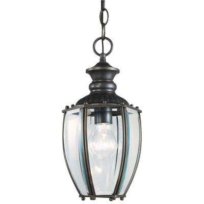 1-Light Weathered Bronze on Solid Brass Dual-Mount Exterior Pendant with Clear Curved Beveled Glass Panels
