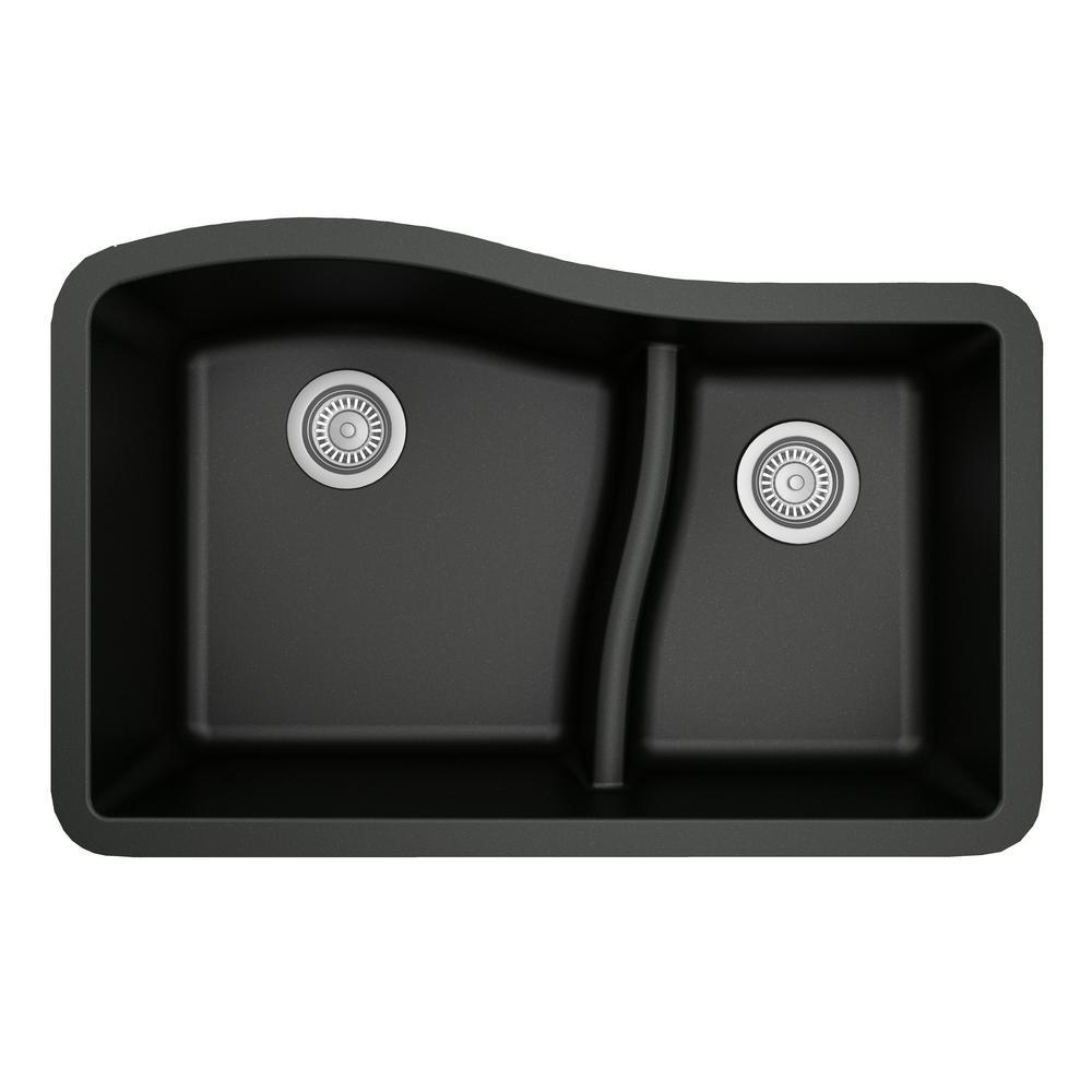 Karran Undermount Quartz Composite 32 in. 60/40 Double Bowl Kitchen Sink in Black