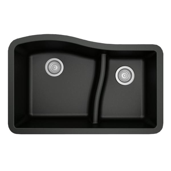 Undermount Quartz Composite 32 in. 60/40 Double Bowl Kitchen Sink in Black