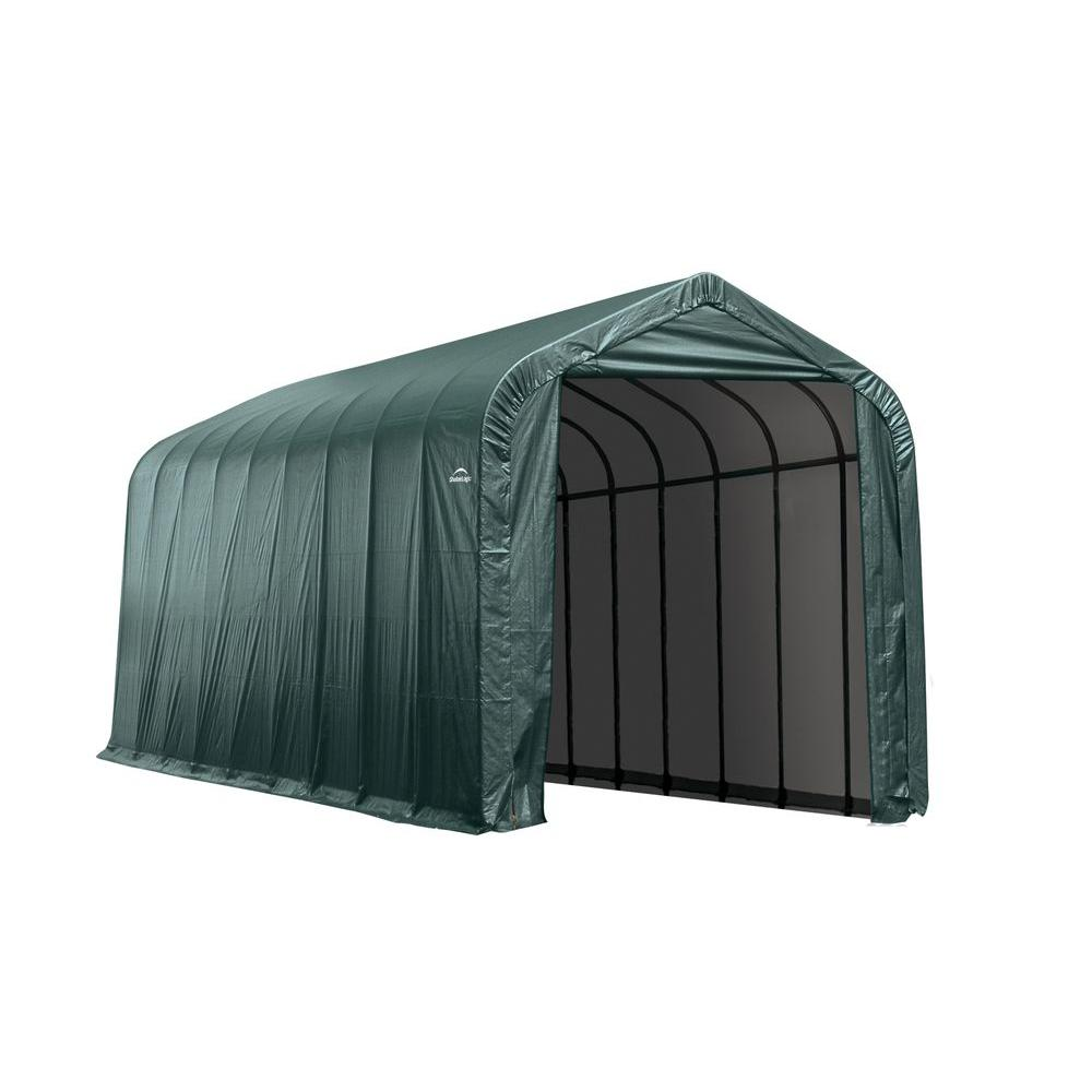 ShelterLogic 15 ft. x 32 ft. x 12 ft. Green Cover Peak Style Shelter - DISCONTINUED