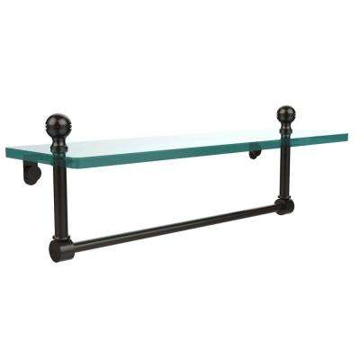 Mambo 16 in. L  x 5 in. H  x 5 in. W Clear Glass Vanity Bathroom Shelf with Towel Bar in Oil Rubbed Bronze