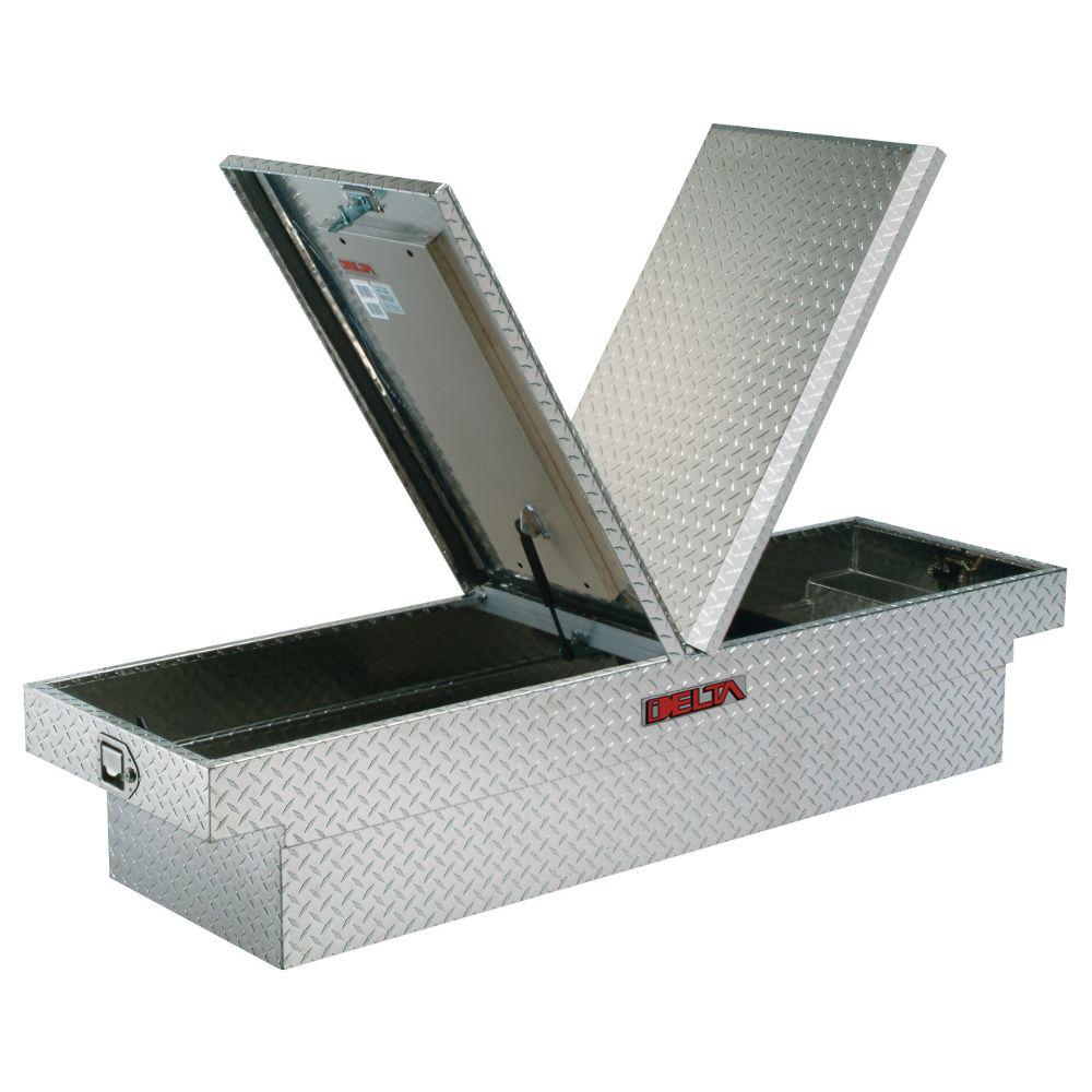 Delta 71.125 in. Aluminum Mid-Lid Dual Lid Full Size Crossover Tool Box in Bright