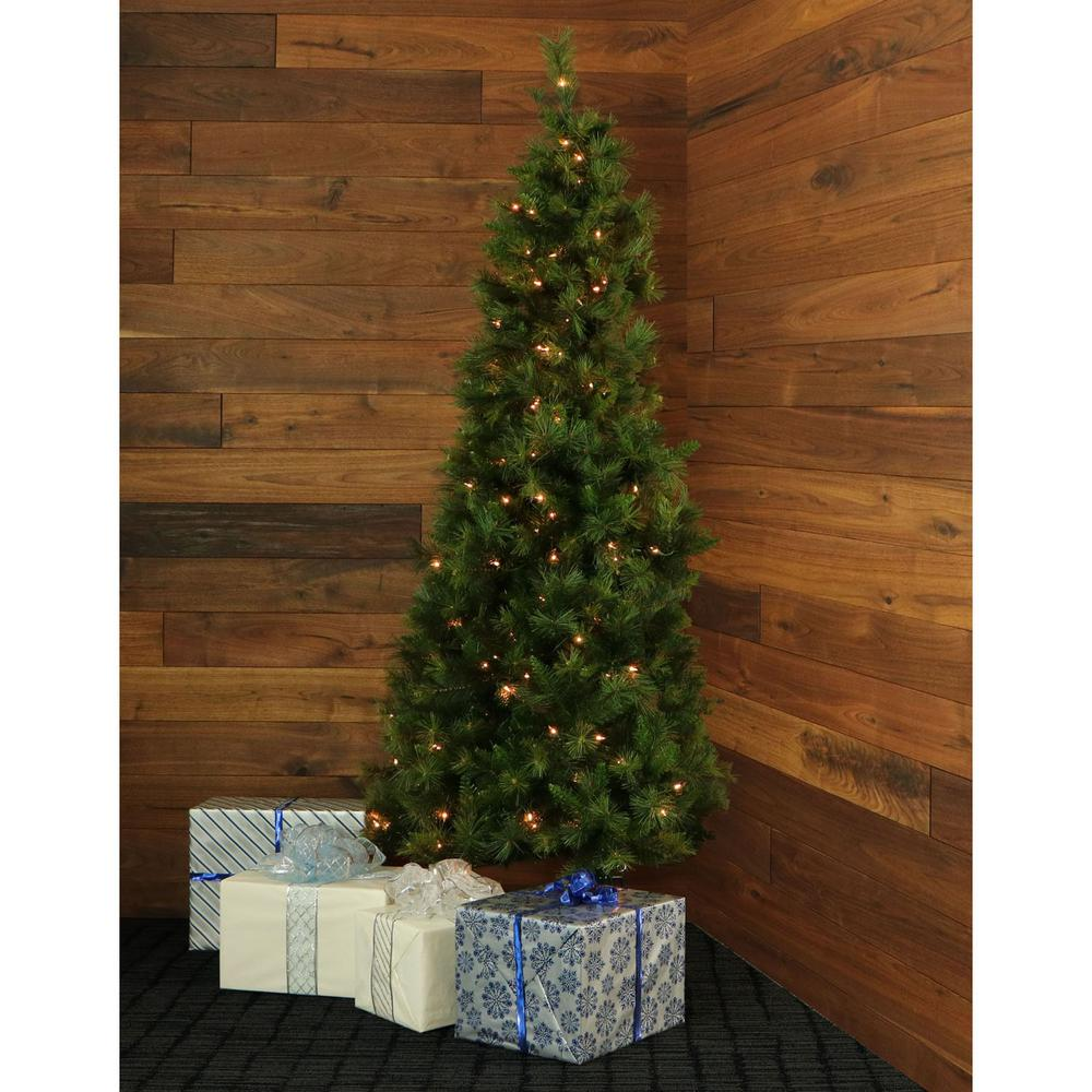 Fraser Hill Farm 7 5 Ft Pre Lit Canyon Pine Half Wall Or Corner Artificial Christmas Tree With 250 Clear Lights
