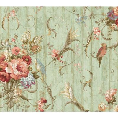 Parrots With Floral Bouquets Paper Strippable Roll Wallpaper (Covers 60.75 sq. ft.)