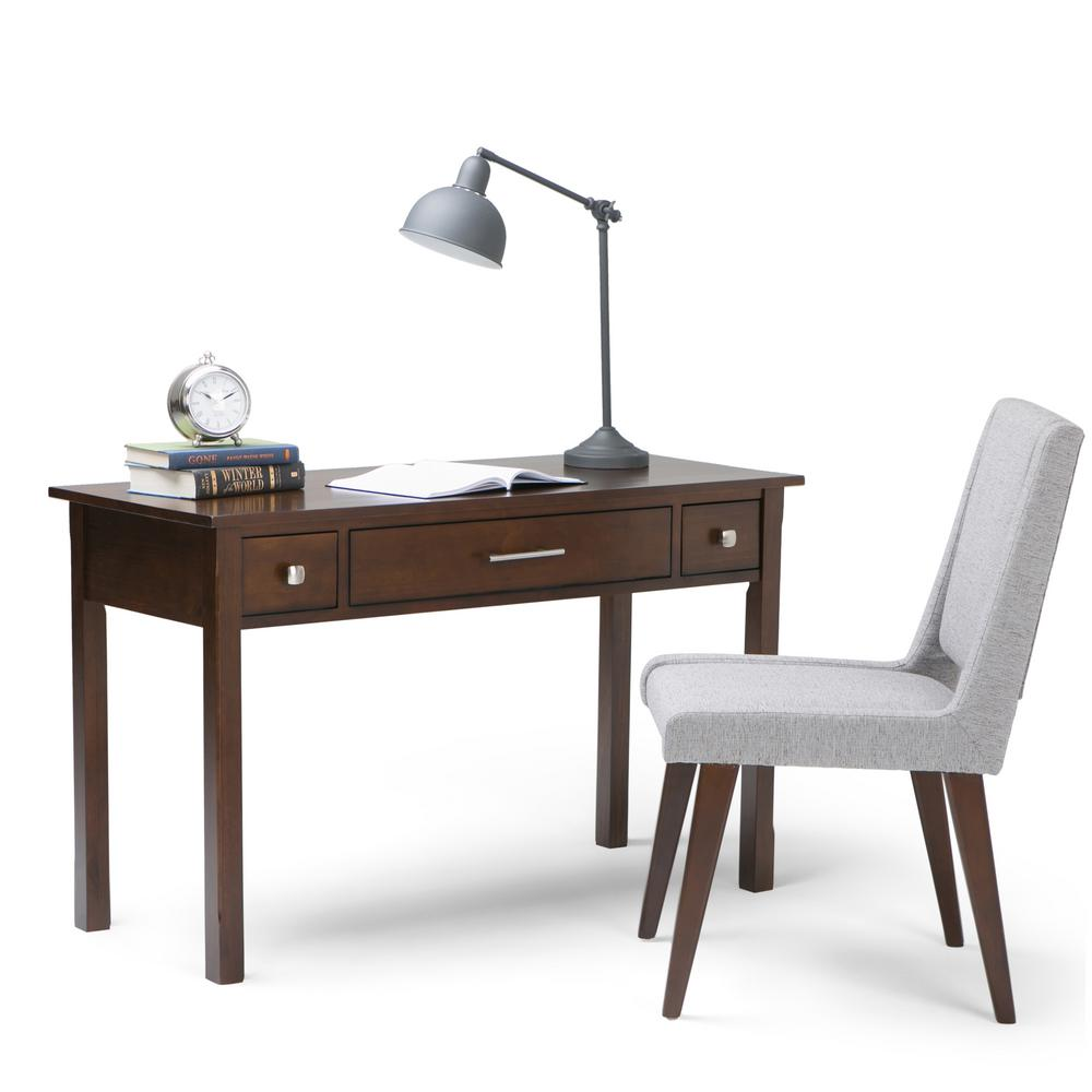 Simpli Home Avalon Dark Tobacco Brown Desk with Keyboard Tray