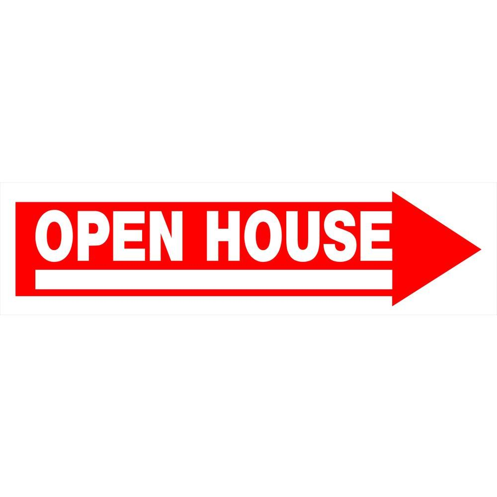6 in. x 24 in. Red and White Plastic Open House Sign-842232 - The ...
