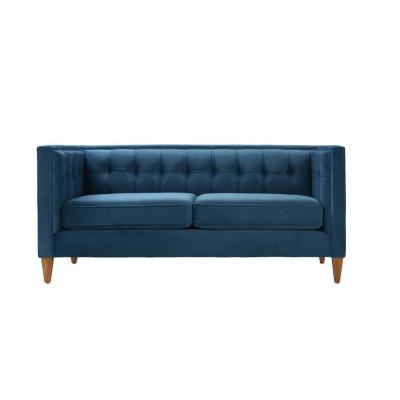 Jack 71 in. Teal Tufted Velvet 2-Seater Tuxedo Loveseat with Removable Cushions