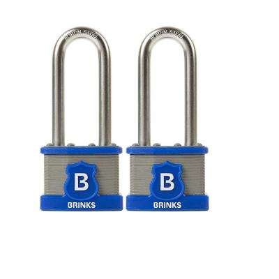 Commercial 44 mm Laminated Steel Padlock with 2-3/8 in. Boron Steel Shackle, Keyed Alike (2-Pack)