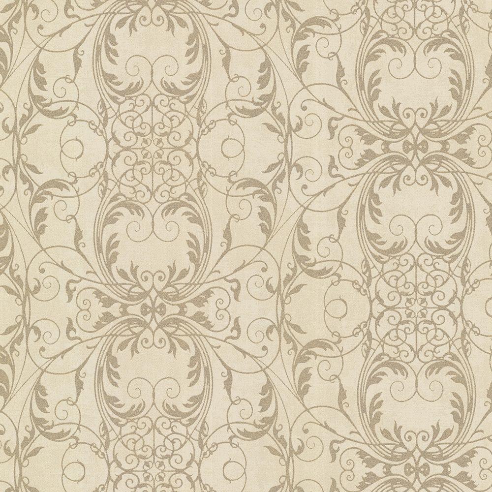 Tianna Brass Ironwork Scroll Wallpaper