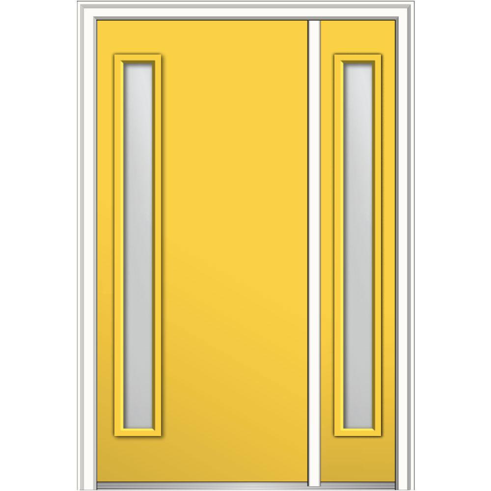 MMI Door 48 in. x 80 in. Viola Clear Low-E Right-Hand Inswing 1-Lite Midcentury Painted Steel Prehung Front Door with Sidelite