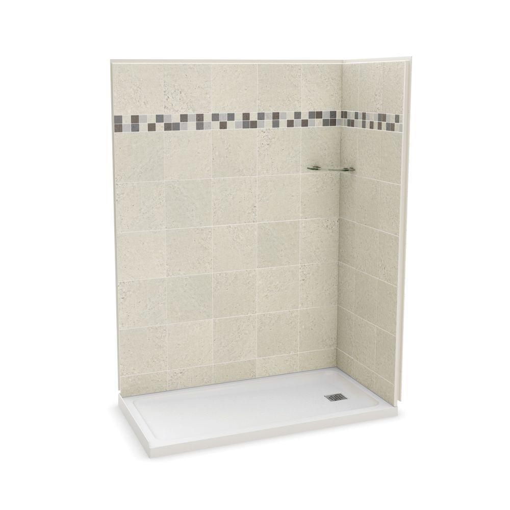 Utile Stone 32 in. x 60 in. x 83.5 in. Corner Shower Stall in Sahara with Right Drain Base in White