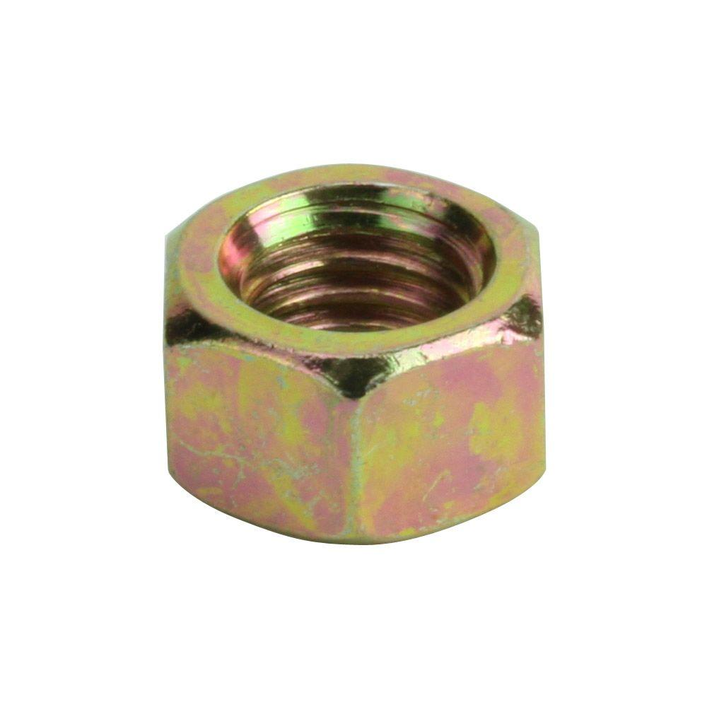 1/4 in.-28 tpi Yellow Zinc-Plated Grade 8 Hex Nut (2-Piece per