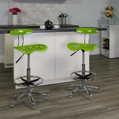 Vibrant Apple Green and Chrome Drafting Stool with Tractor Seat