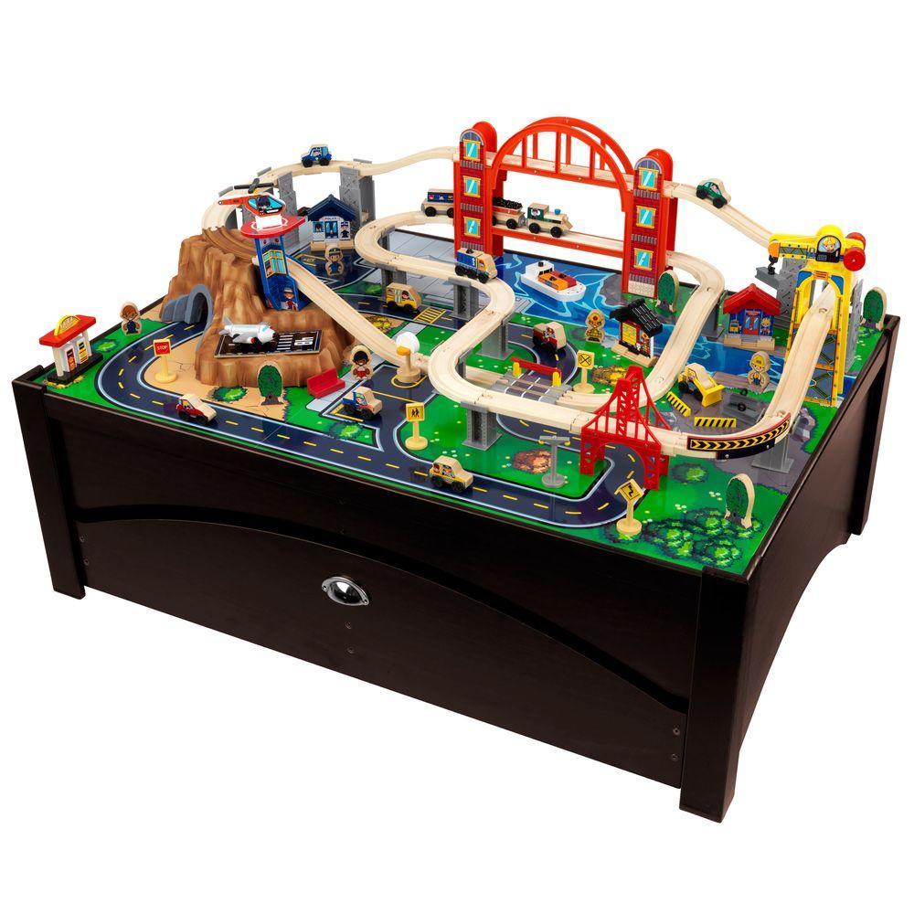 KidKraft Metropolis Train Table and Train Playset-17935 - The Home Depot