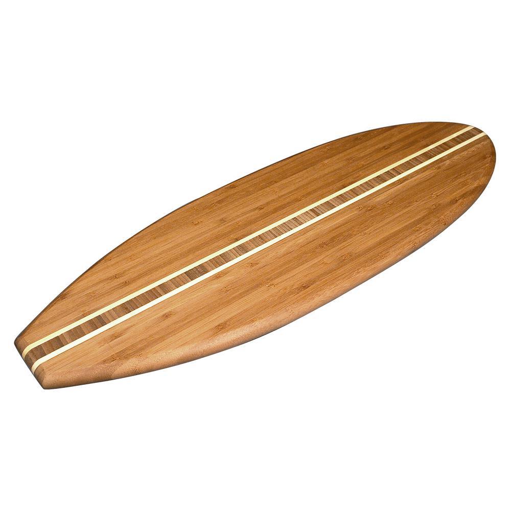 Totally Bamboo Surfboard Shape 1-Piece Bamboo Cutting Board