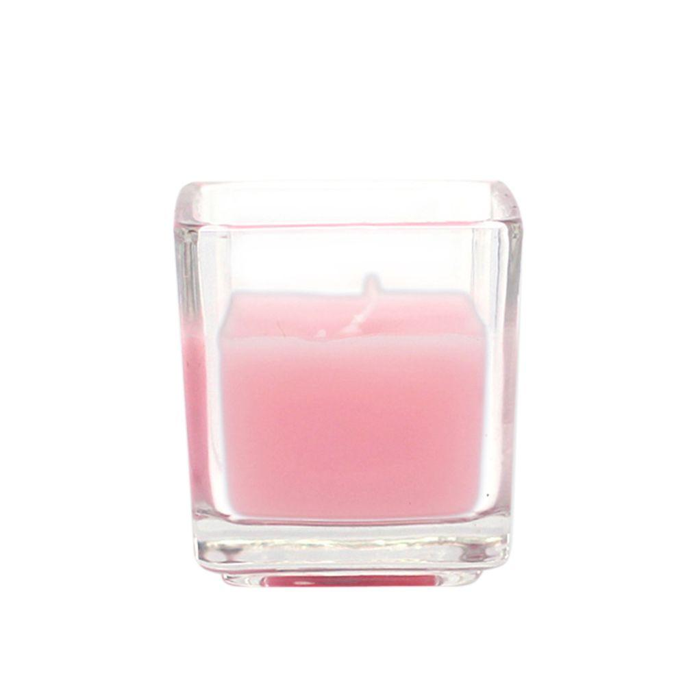 Zest Candle 2 in. Light Rose Square Glass Votive Candles (12-Box)