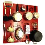 Kitchen Pegboard 32 in. x 32 in. Metal Peg Board Pantry Organizer Kitchen Pot Rack with Red Pegboard and Red Peg Hooks
